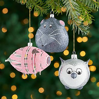 Glass Glitter Animal Ornaments Set Of 3
