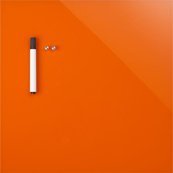 "Orange Glass Magnetic 17.75"" Wipe Board"