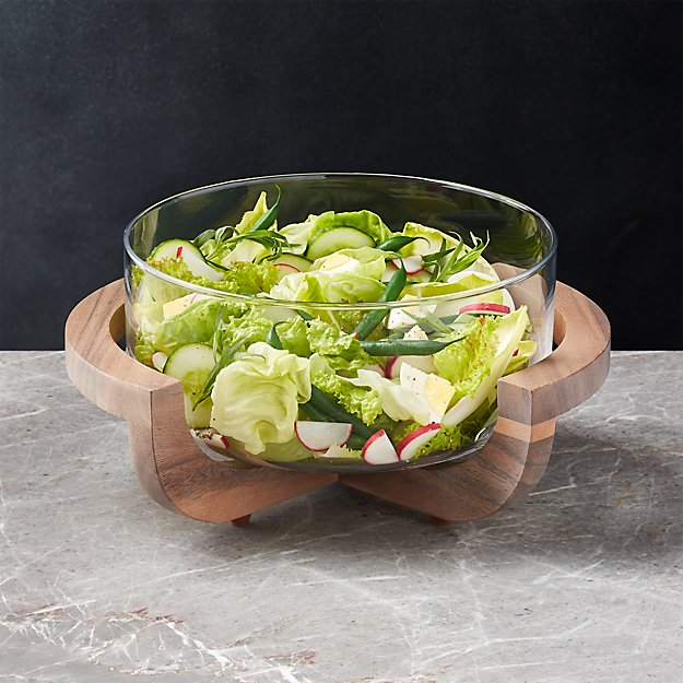 Glass Serving Bowl with Wood Stand - Image 1 of 5