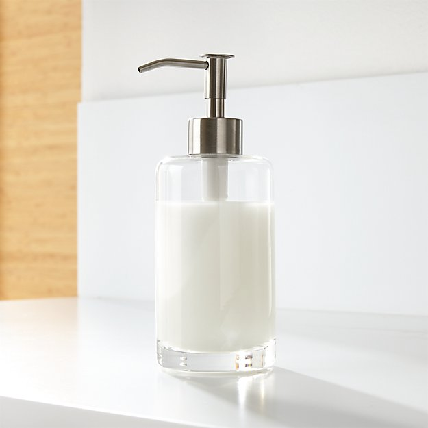 Silver glass soap dispenser crate and barrel for Bathroom soap dispensers bath accessories