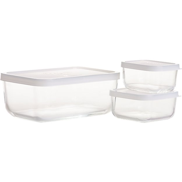 Rectangular Storage Container Set of 3 Reviews Crate and Barrel