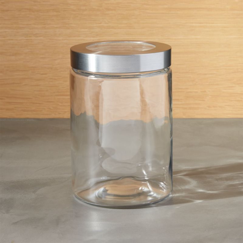 small glass storage canister with stainless steel lid crate and barrel
