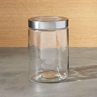 Small Gl Storage Canister With Stainless Steel Lid
