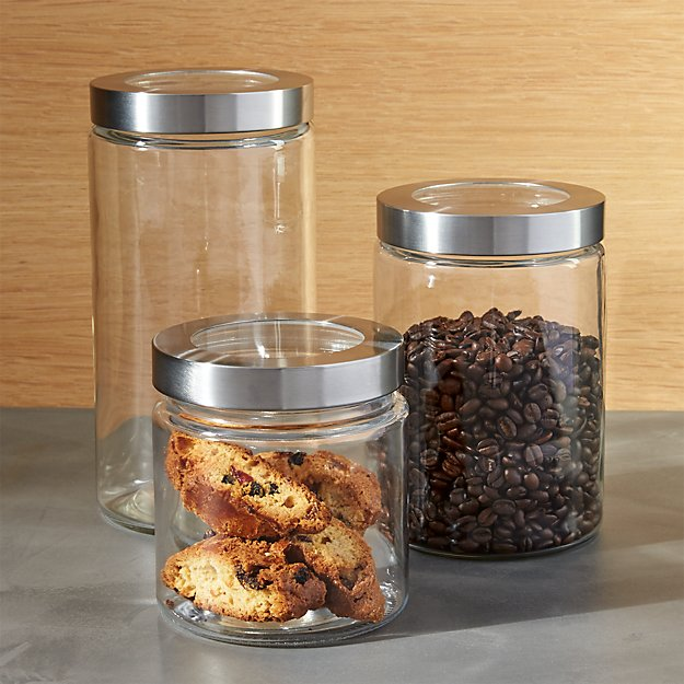 Glass Storage Canisters With Stainless Steel Lids Crate And Barrel