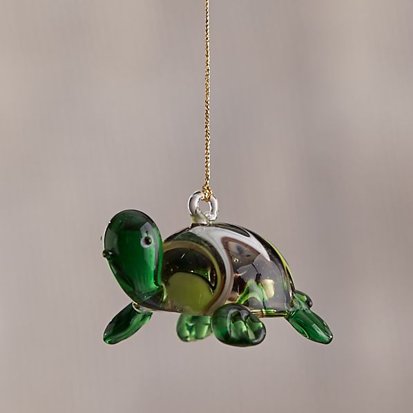 Green Glass Turtle Squiggle Shell Ornament