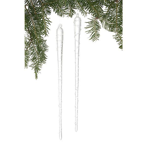 Set of 2 Twist Icicle Ornaments