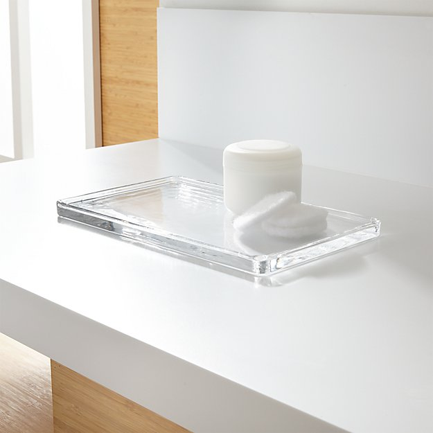 glass vanity tray reviews crate and barrel - Bathroom Tray