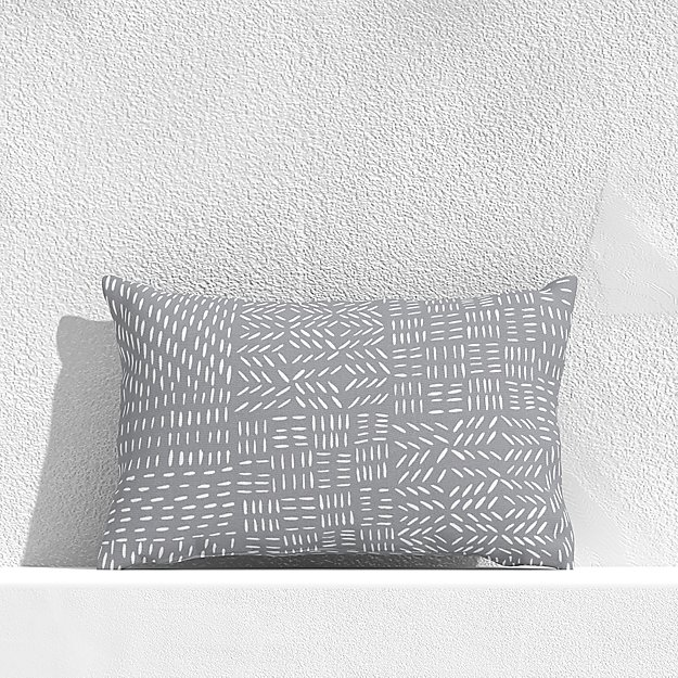 "Global Marks Grey 20""x13"" Outdoor Pillow - Image 1 of 3"