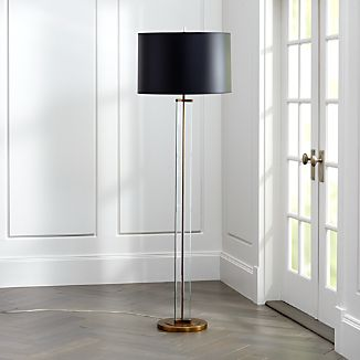 6e57e409a26 Gleam Crystal Brass Black Shade Floor Lamp