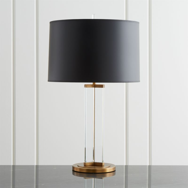 Gleam Crystal/Brass Black Shade Table Lamp + Reviews
