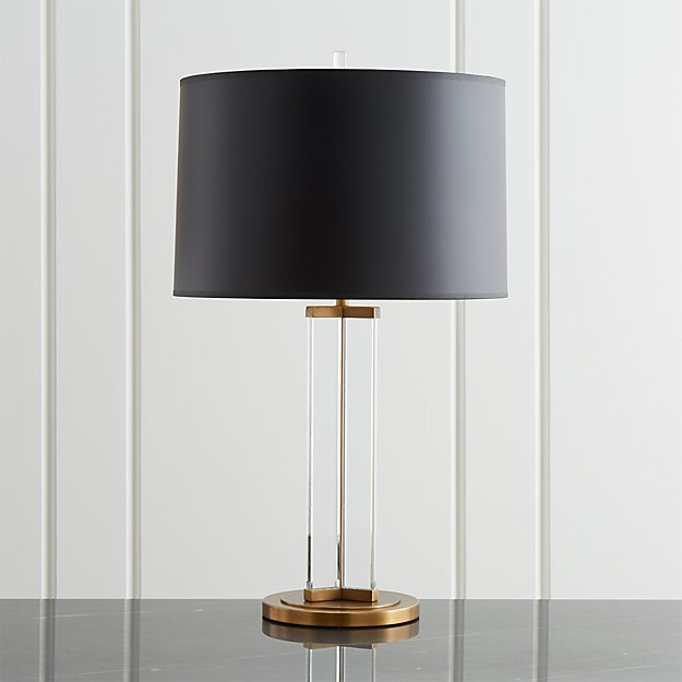 Gleam Crystal Brass Black Shade Table Lamp Reviews Crate And Barrel