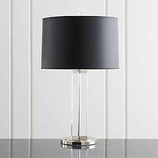 White lamp shades crate and barrel gleam crystalnickel black shade table lamp aloadofball Images