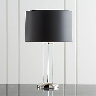 Table lamps for bedside and desk crate and barrel gleam crystalnickel black shade table lamp aloadofball Gallery