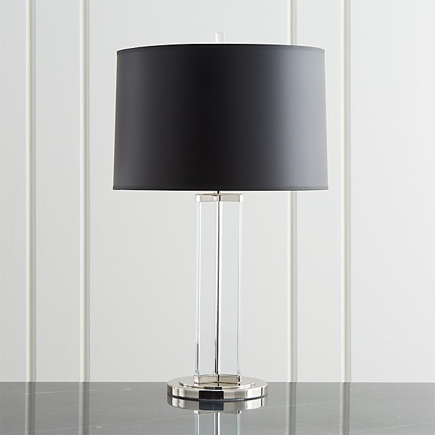 Gleam Crystal Nickel Black Shade Table Lamp Reviews Crate And Barrel