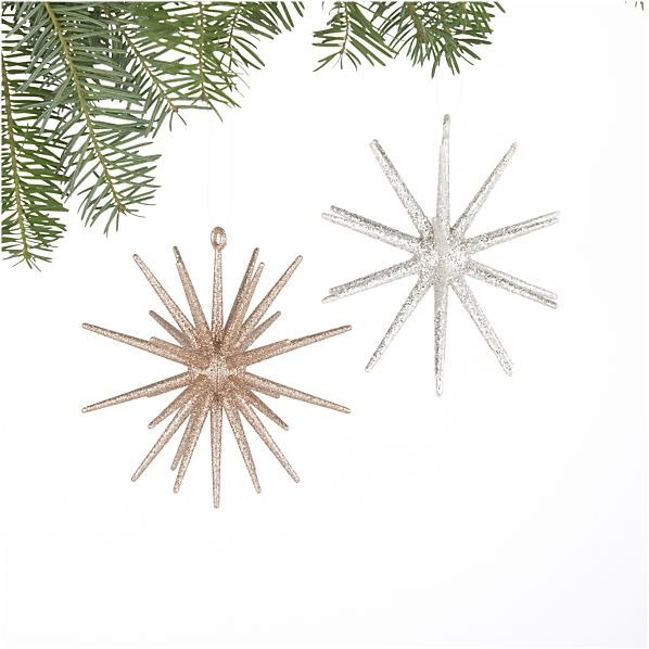 Set of 2 Glitter 3D Star Ornaments