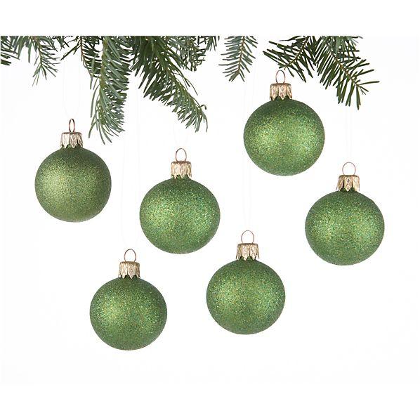 Set of 6 Glitter Ball Green Ornaments