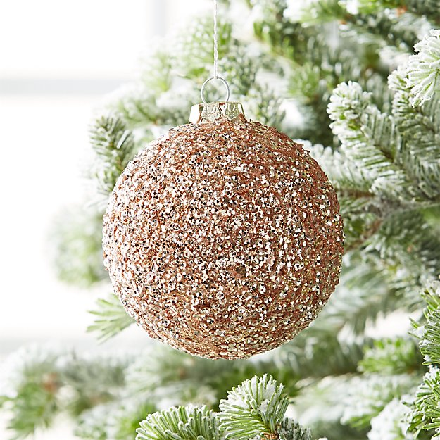 large rose gold glitter ball ornament reviews crate and barrel