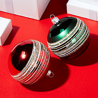 Red and Green Ball Ornaments with Glitter Bands