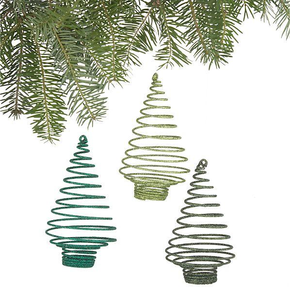 Coil Glitter Tree Ornaments Set of Three