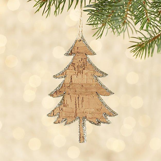 glitter cork tree ornament reviews crate and barrel