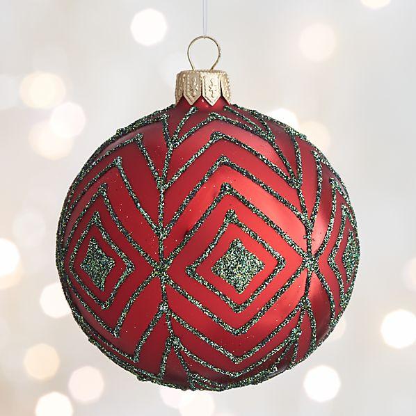 Red Glitter Diamond Ball Ornament