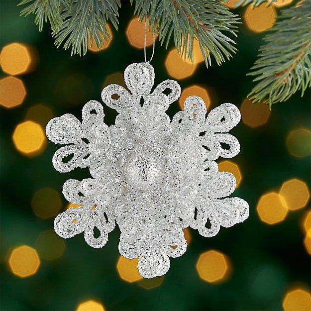 Glitter Dimensional Silver Snowflake Ornament