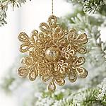 Glitter Dimensional Champagne Gold Snowflake Ornament