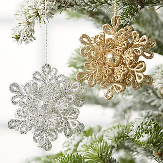 glitter dimensional silver snowflake ornament - Snowflake Christmas Decorations