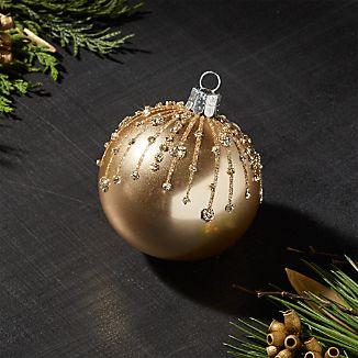 Gold Glitter Drip Ball Ornament