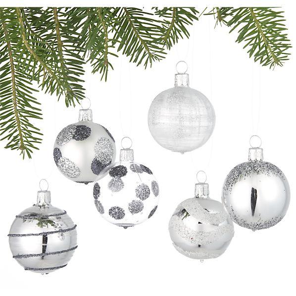 Set of 6 Glitter Design Silver Ball Ornaments