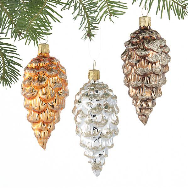 Set of 3 Glitter Glass Pinecone Ornaments