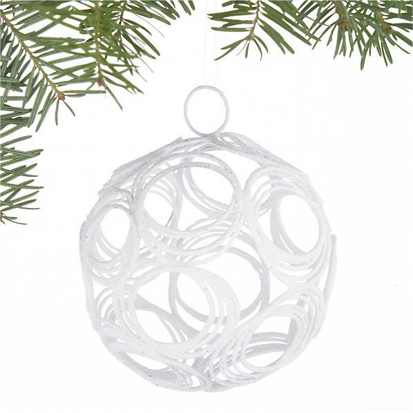 Glitter Hoop White Ball Ornament