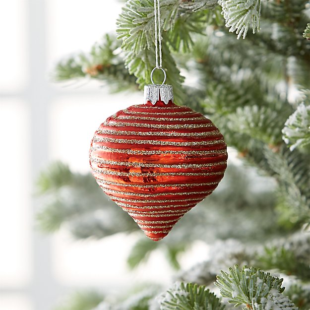 Glitter Lines Glass Onion Ornaments | Crate and Barrel