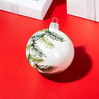 Glitter Pine Ball Ornament With Red Crystals