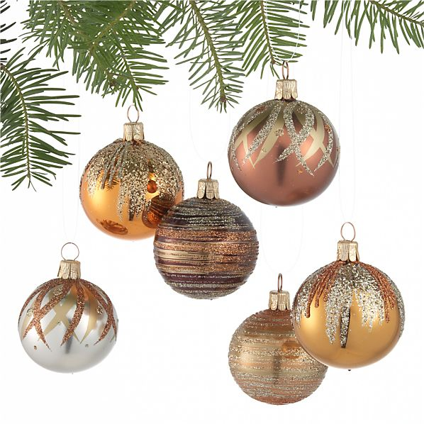 Set of 6 Glitter Pattern Metallic Ball Ornaments