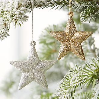 glitter star ornaments - Snowflake Christmas Decorations