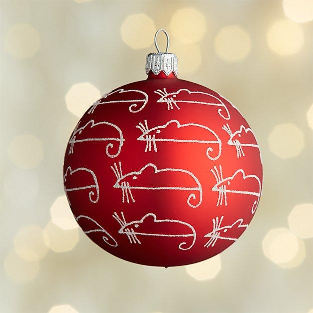 Glitter Sugar Mice Red Ball Mice Ornament