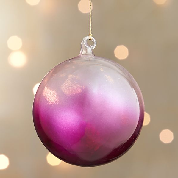 Hot Pink Global Dip Dyed Ball Ornament