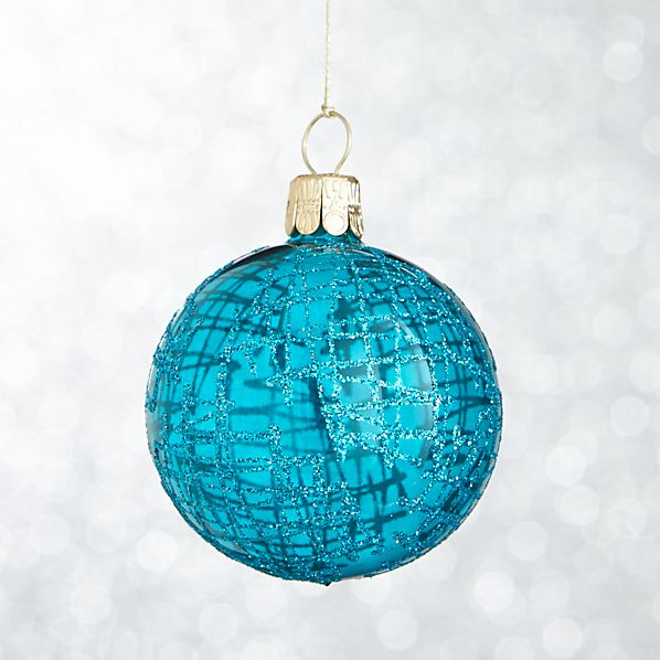 Blue Global Glitter Line Ball Ornament