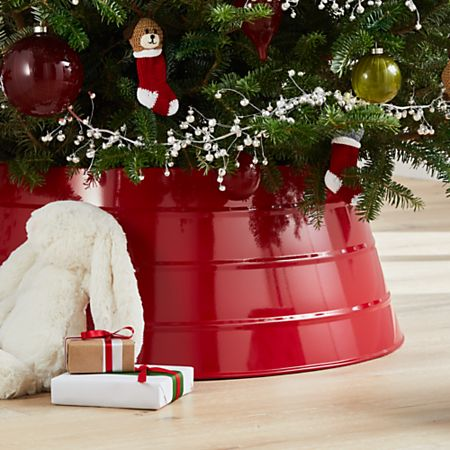 Christmas Crate And Barrel.Glossy Red Tree Collar