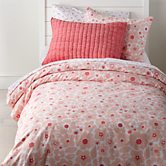 Go lightly pink girls bedding crate and barrel pretty prints pink floral twin duvet cover mightylinksfo