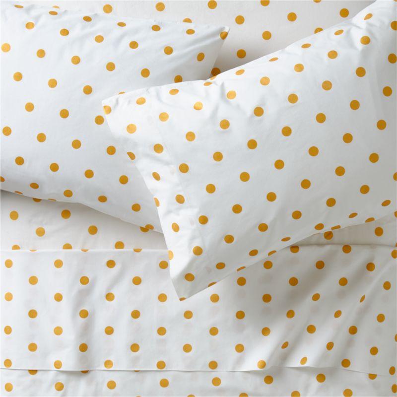 Organic Gold Polka Dot Full Sheets In Kids Sheet Sets