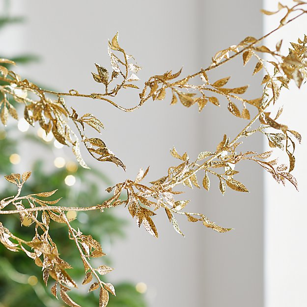 Gold Glitter Leaf Garland - Image 1 of 3