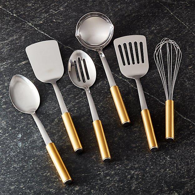 kitchen tools design gold handled kitchen utensils set of 6 reviews crate 3372