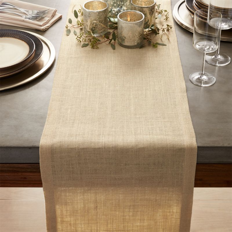 gold jute table runner 120 crate and barrel. Black Bedroom Furniture Sets. Home Design Ideas