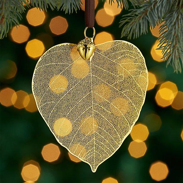 Gold Birch Leaf Ornament with Acorn