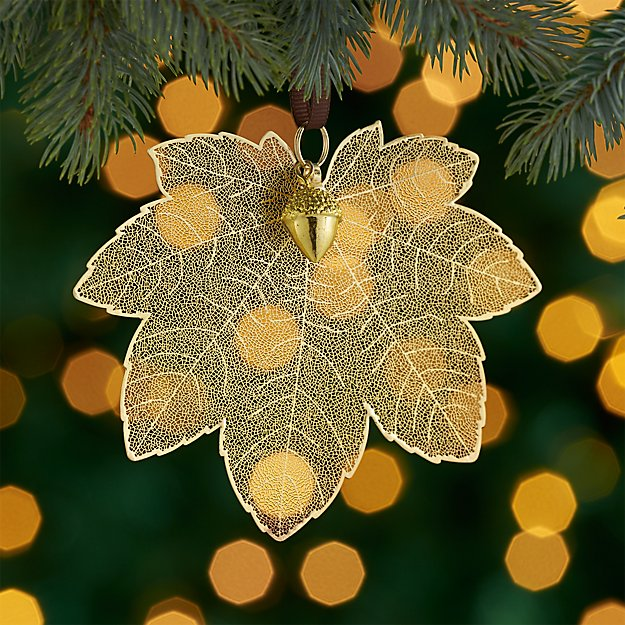 Gold Maple Leaf Ornament with Acorn