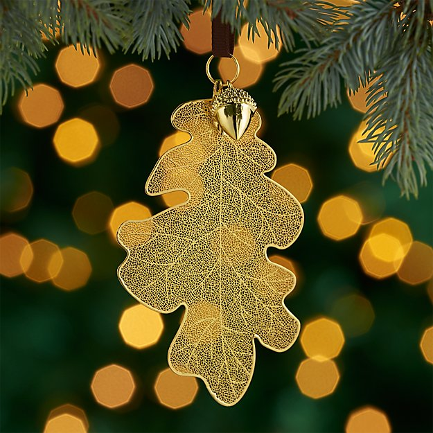 Gold Oak Leaf Ornament with Acorn