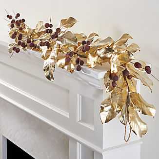 Gold Magnolia Garland with Mauve Berries