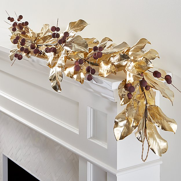 Gold Magnolia Garland with Mauve Berries - Image 1 of 8
